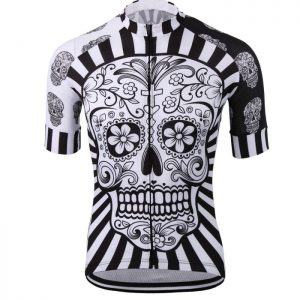 Custom Skull Printed Mens Cycling Shirt Manufacturer