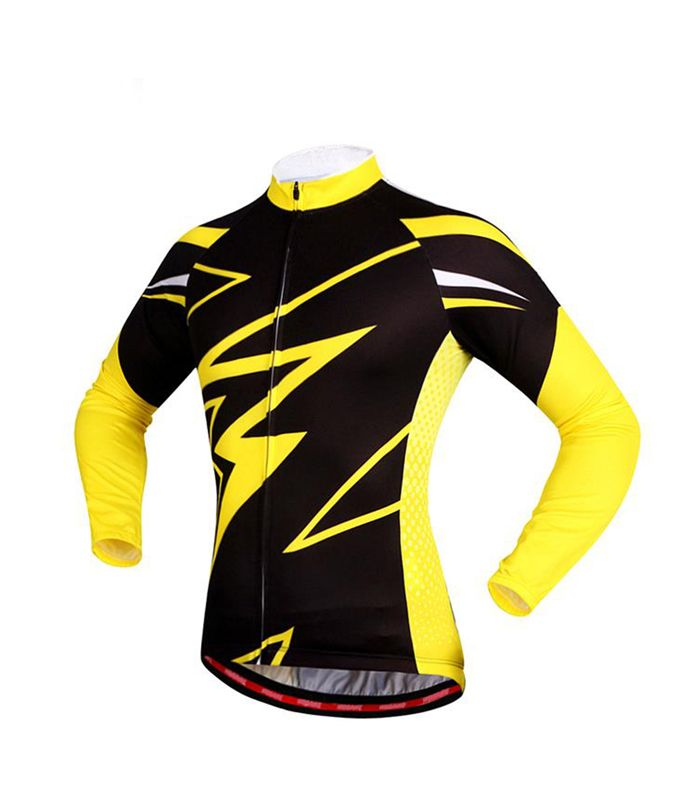 Wholesale Full Sleeve Yellow Black Custom Cycling Jersey