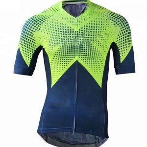 Wholesale Light-green Navy-blue Custom Cycling Jersey