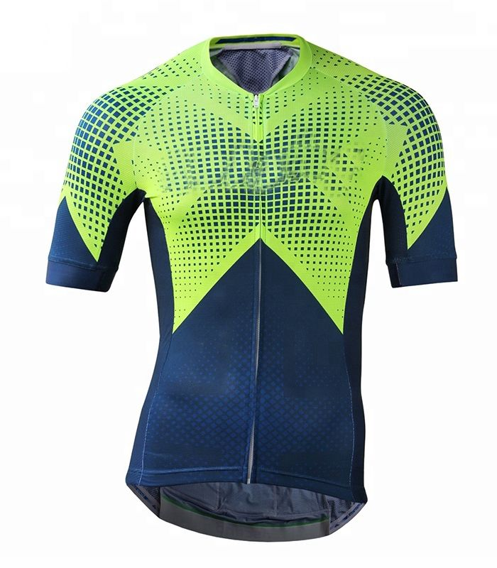 Wholesale Light-green Navy-blue Custom Cycling Jersey