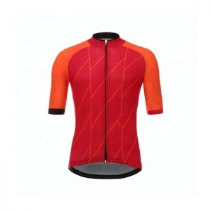 Wholesale Red Orange Sublimated Cycling Uniform